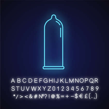 Contraceptive neon light icon. Male latex condom. Rubber preservative for safe sex. Pregnancy prevention. AIDs protection. Glowing sign with alphabet, numbers and symbols. Vector isolated illustration Imagens - 134836648