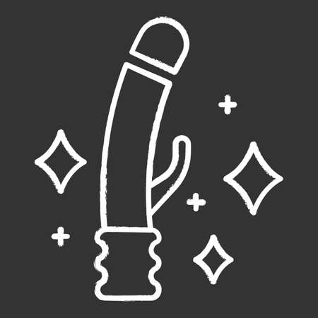 Clean toys chalk icon. Safe sex. Intimate hygiene. Sterilized vibrator. Rubber penis for pleasure. Erotic play. Genital infection precaution. Isolated vector chalkboard illustration