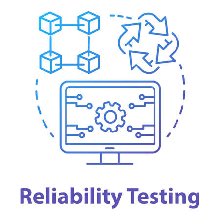 Reliability testing concept icon. Software development type idea thin line illustration. Application programming. Failure-free perfomance. IT project. Vector isolated outline drawing Illusztráció