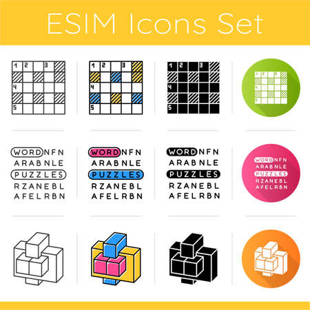 Puzzles and riddles icons set. Number placement, hidden word search, construction puzzle. Logic games. Brain teaser. Flat design, linear, black and color styles. Isolated vector illustrations Ilustração