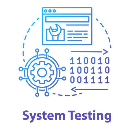 System testing concept icon. Software development stage idea thin line illustration. Application perfomance verification. IT project managment. App coding. Vector isolated outline drawing
