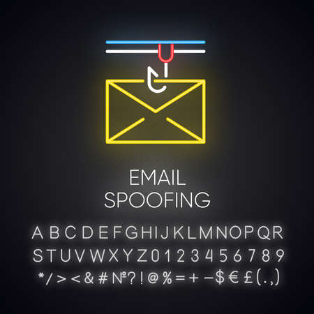 Email spoofing neon light icon. Illegitimate business. Forged sender. Online scam. Spamming. Mail phishing. Cybercrime. Glowing sign with alphabet, numbers and symbols. Vector isolated illustration Imagens - 134836695
