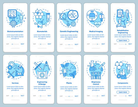 Bioengineering onboarding mobile app page screen with linear concepts. Medical imaging, services. Ten walkthrough steps graphic instructions. Biomaterials. UX, UI, GUI vector template, illustrations 版權商用圖片 - 134811465