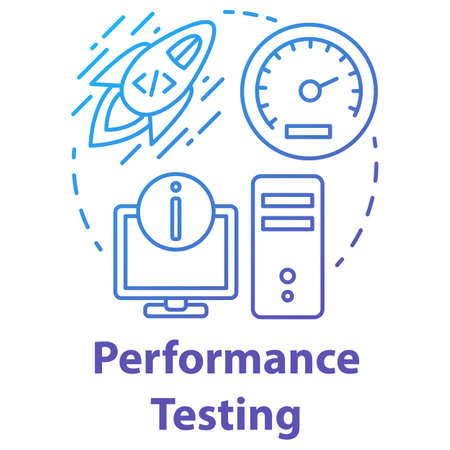 Perfomance testing concept icon. Software development idea thin line illustration. Application programming. App operation speed and workflow efficiency. Vector isolated outline drawing