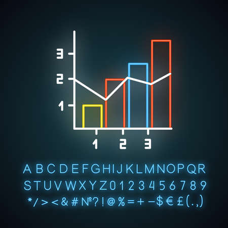 Mixed chart neon light icon. Vertical histogram with linear elements. Information chart. Diagram. Marketing. Glowing sign with alphabet, numbers and symbols. Vector isolated illustration Ilustracja