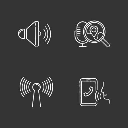 Voice control apps chalk icons set. Mobile voice commands idea. Sound recorder, search request. Innovative wireless technology. Speech recognition.Isolated vector chalkboard illustrations Standard-Bild - 134811466