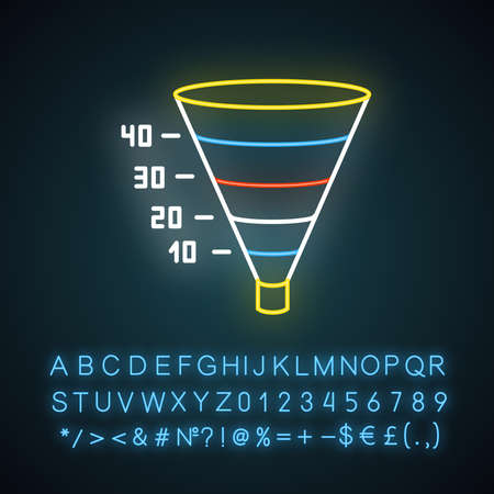 Funnel graph neon light icon. Marketing strategy chart. Conversion economic plan. Business research presentation. Glowing sign with alphabet, numbers and symbols. Vector isolated illustration