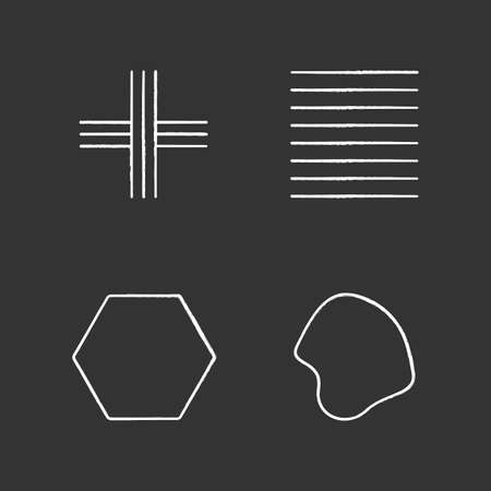 Geometric figures chalk icons set. Crossed stripes. Black ink strokes. Parallel lines. Flat solid hexagon. Filled fluid abstract shape. Isometric forms. Isolated vector chalkboard illustrations Standard-Bild - 134811409
