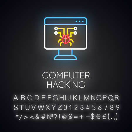 Computer hacking neon light icon. Illegal access gain. Security breach. Malware, ransomware. Phishing, cybercrime. Glowing sign with alphabet, numbers and symbols. Vector isolated illustration Illustration