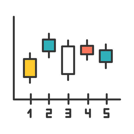 Candlestick chart color icon. Box plot graph. Business diagram. Finance report. Economical research. Marketing infochart. Data presentation and visualization. Isolated vector illustration Imagens - 134836708