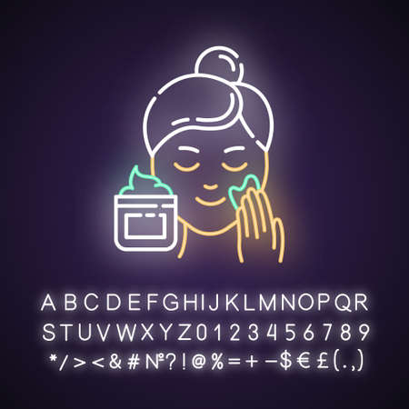 Applying cream neon light icon. Skin care procedure. Facial beauty treatment. Dermatology, cosmetics, makeup. Glowing sign with alphabet, numbers and symbols. Vector isolated illustration Archivio Fotografico - 134811452