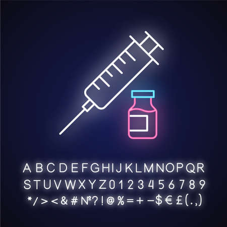 Vaccination neon light icon. Medical injection. Contraceptive syringe shot. Safe sex. Healthcare. Pharmaceutical vial. Glowing sign with alphabet, numbers and symbols. Vector isolated illustration