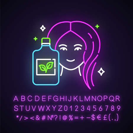 Natural shampoo bottle neon light icon. Haircare product. Hygiene. Hypoallergenic, botanical based. Organic cosmetics. Glowing sign with alphabet, numbers and symbols. Vector isolated illustration