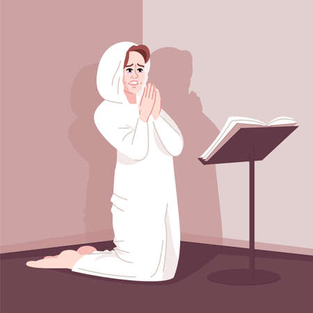 Spiritual obsession flat vector illustration. Religious dependence, mental disorder. Fanatic worshiper. Pious young woman kneeling, female believer praying passionately cartoon character