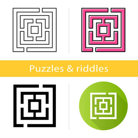 Maze puzzle icon. Labyrinth. Route, pathway finding. Mental exercise, challenge. Ingenuity, intelligence test. Brain teaser. Flat design, linear and color styles. Isolated vector illustrations