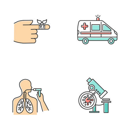 Medical procedures color icons set. Bandaging hurt finger. Emergency care. Ambulance transportation. Bronchoscopy. Lung health examination. Infection lab test. Isolated vector illustrations Illustration