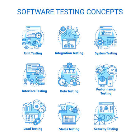 Software testing concept turquoise icons set. System perfomance verification idea thin line illustrations. Program development stages. Reliability. Vector isolated outline drawings. Editable stroke
