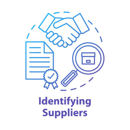 Identifying supplies concept icon. Trade agreement. Make deal. Partnership. Contract for delivery raw materials and goods idea thin line illustration. Vector isolated outline drawing Illusztráció