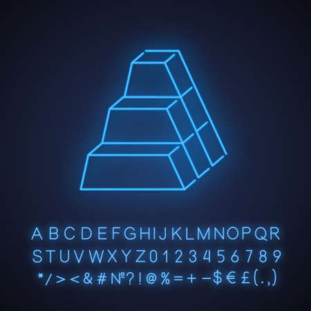 Bricks neon light icon. Stock of blocks. Geometric figures. Trapezoidal side. Abstract shape. Isometric form. Glowing sign with alphabet, numbers and symbols. Vector isolated illustration