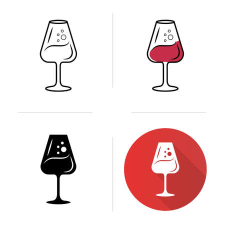Alcohol beverage with bubbles icons set. Sweet aperitif drink. Party cocktail. Port wineglass. Tableware, glassware. Flat design, linear, black and color styles. Isolated vector illustrations