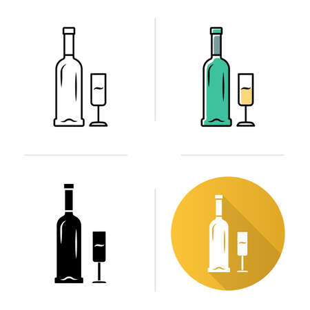 Open bottle and glass of champagne icons set. Wine service. Sparkling wine. Aperitif, alcohol beverage. Glassware, winery. Flat design, linear, black and color styles. Isolated vector illustrations