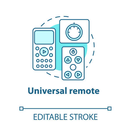 Universal remote turquoise concept icon. Smart house idea thin line illustration. Innovative technology for apartment. Home automation system. Vector isolated outline drawing. Editable stroke