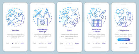 Bioengineering onboarding mobile app page screen vector template. Services and plants, components. Walkthrough website steps with linear illustrations. UX, UI, GUI smartphone interface concept