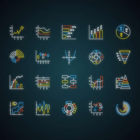 Chart and graph neon light icons set. Pie diagram. Histogram. Area chart. Venn diagram. Pareto curve. Temperature map. Polar watch. Scatter chart. Glowing signs. Vector isolated illustrations