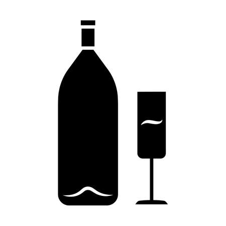 Wine glyph icon. Alcohol bar. Bottle and wineglass. Alcoholic beverage. Champagne glass. Restaurant service. Glassware for flute wine. Silhouette symbol. Negative space. Vector isolated illustration