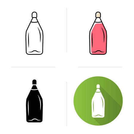 Alcohol beverage icons set. Bottle with cork. Party, holiday, event sweet aperitif drink. Bar, restaurant, winery. Flat design, linear, black and color styles. Isolated vector illustrations