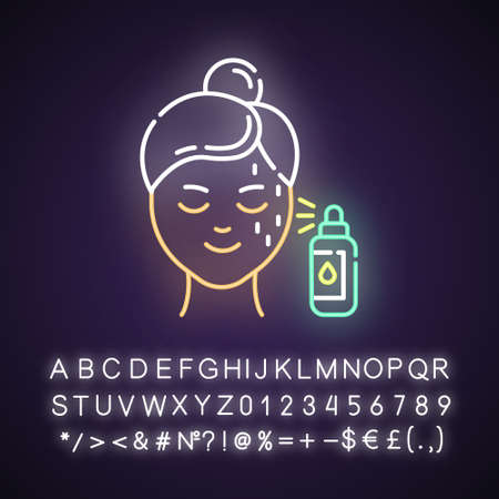 Beauty water neon light icon. Skin care procedure. Beauty treatment. Spray for moisturizing effect. Cosmetics, makeup. Glowing sign with alphabet, numbers and symbols. Vector isolated illustration