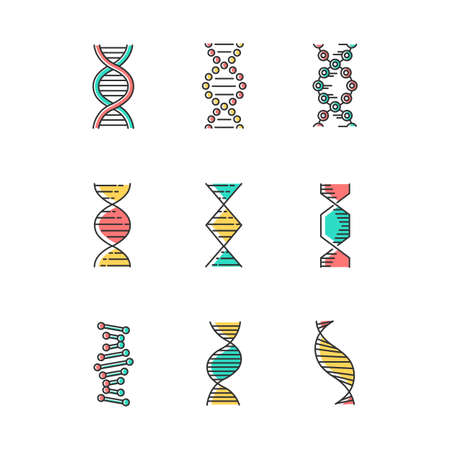 DNA spirals color icons set. Deoxyribonucleic, nucleic acid helix. Spiraling strands. Chromosome. Molecular biology. Genetic code. Genome. Genetics. Medicine. Isolated vector illustrations Иллюстрация