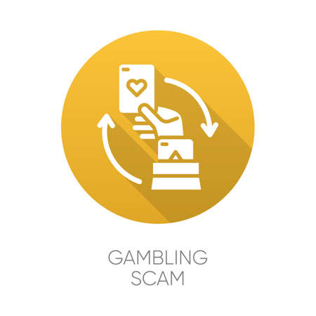 Gambling scam yellow flat design long shadow glyph icon. Money betting, risk taking. Cheating in casino. Hand holding card. Online fraud. Cybercrime. Fraudulent scheme. Vector silhouette illustration Ilustrace