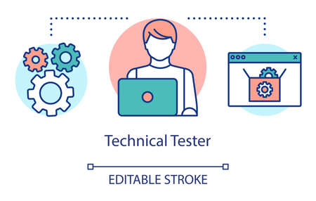 Technical tester concept icon. IT employee idea thin line illustration. Software testing specialist. Indicating issues and problems. Vector isolated outline drawing. Editable stroke