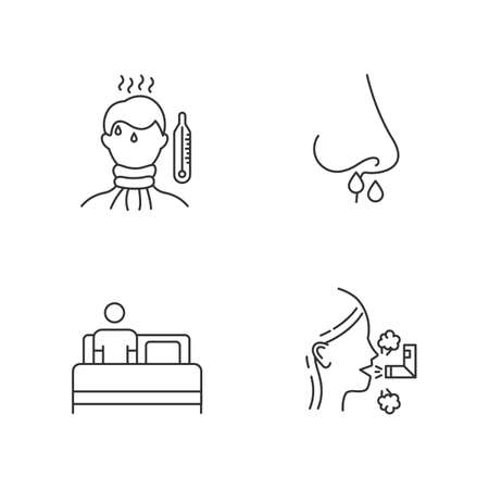Common cold linear icons set. Fever, high temperature. Drip nose. Bed rest. Inhalation. Healthcare. Influenza virus. Thin line contour symbols. Isolated vector outline illustrations. Editable stroke