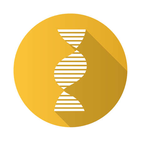 Right-handed DNA helix yellow flat design long shadow glyph icon. B-DNA. Deoxyribonucleic, nucleic acid. Chromosome. Molecular biology. Genetic code. Genome. Genetics. Vector silhouette illustration