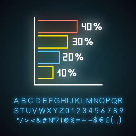 Horizontal histogram neon light icon. Rising interest rate chart. Increasing graph bars. Business strategy. Glowing sign with alphabet, numbers and symbols. Vector isolated illustration