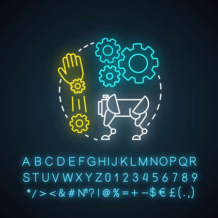 Robotics motion system neon light concept icon. Robot software idea. Information technologies and innovative programming. Glowing sign with alphabet, numbers and symbols. Vector isolated illustration