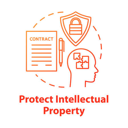 Protect intellectual property concept icon. Copyright legislation. Trade secret safety. Intellectual cooperation agreement idea thin line illustration. Vector isolated outline drawing