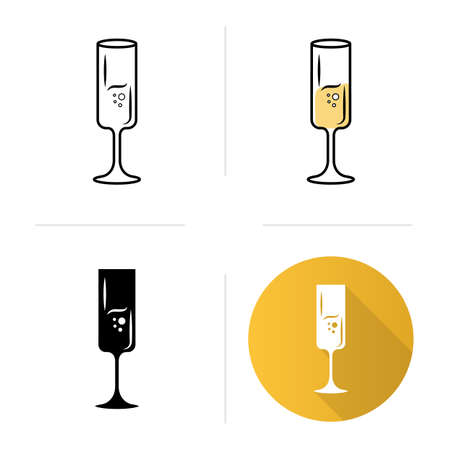 Fort wineglass icons set. Champagne. Alcohol beverage with bubbles. Party cocktail. Aperitif drink. Tableware, glassware. Flat design, linear, black and color styles. Isolated vector illustrations