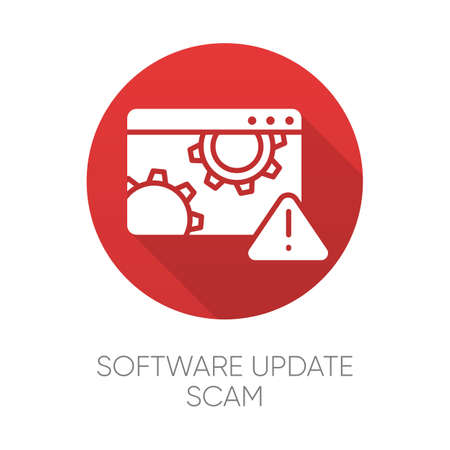 Software update scam red flat design long shadow glyph icon. Fake system, program upgrade. Malware. Deceptive pop-up ad. Financial fraud. Fraudulent scheme. Vector silhouette illustration