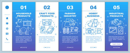 Local production onboarding mobile web pages vector template. Hobby business. Fashion industry. Responsive smartphone website interface idea, linear illustrations. Webpage step screens. Color concept 向量圖像