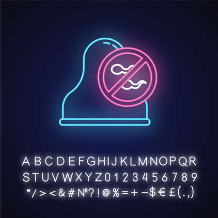 Cervical cap neon light icon. Safe sex. Barrier contraceptive. Condom for pregnancy prevention. STI protection. Glowing sign with alphabet, numbers and symbols. Vector isolated illustration