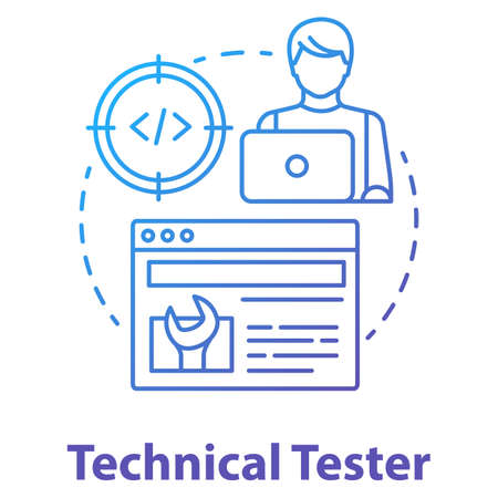 Technical tester concept icon. Software development idea thin line illustration. App programming professional. System functions analysis. IT project managment. Vector isolated outline drawing Illusztráció