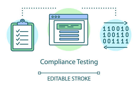 Compliance testing concept icon. Computer program standarts idea thin line illustration. Software testing process. Indicating issues and problems. Vector isolated outline drawing. Editable stroke