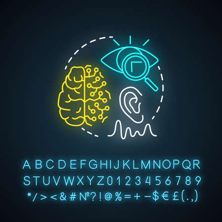 Vision intelligence and machine learning neon light concept icon. Smart computer system idea. Robotics knowledge. Thinking and analysing. Glowing sign with alphabet. Vector isolated illustration