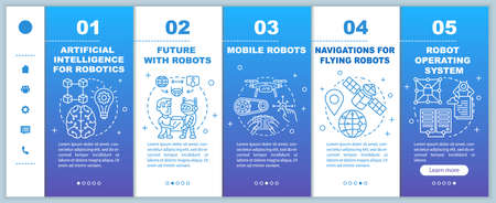 Robotics courses onboarding mobile web pages vector template. Cybernetics. Responsive smartphone website interface idea with linear illustrations. Webpage walkthrough step screens. Color concept