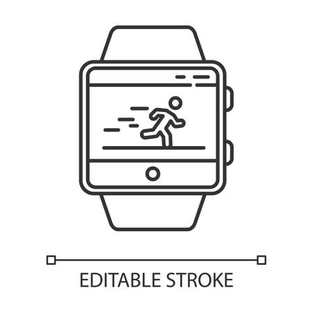 Fitness tracker running application linear icon. Thin line illustration. Healthcare and sport app. Speedometer and steps tracking. Contour symbol. Vector isolated outline drawing. Editable stroke