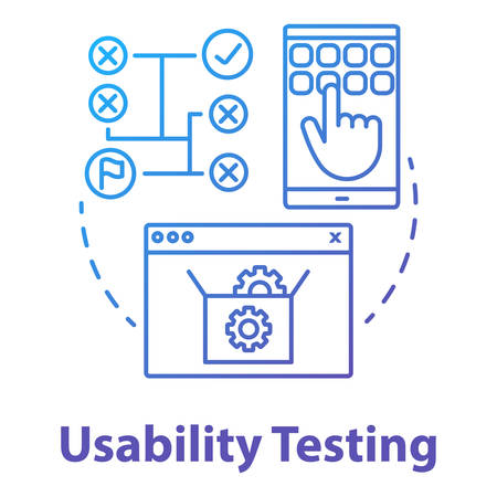 Usability testing concept icon. Software development stage idea thin line illustration. User interaction with system. App programming. IT project management. Vector isolated outline drawing Illusztráció