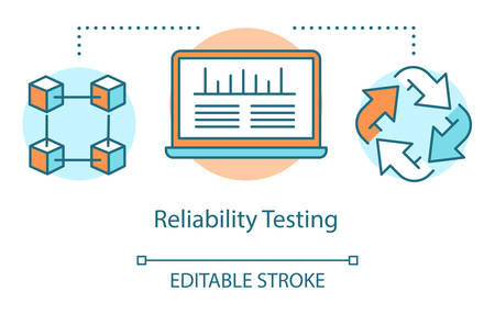 Reliability testing concept icon. Examine computer performance idea thin line illustration. Software testing process. Indicating issues and problems. Vector isolated outline drawing. Editable stroke Reklamní fotografie - 134836860
